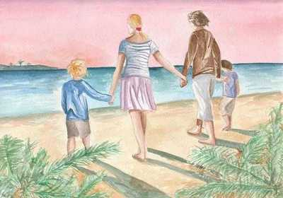 Image: A painting of a family by the sea